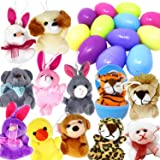 a17f085751f JOYIN 12 Pack Prefilled Easter Eggs of Mini Stuffed Animal Plush Toys  Easter Baster Stuffer for