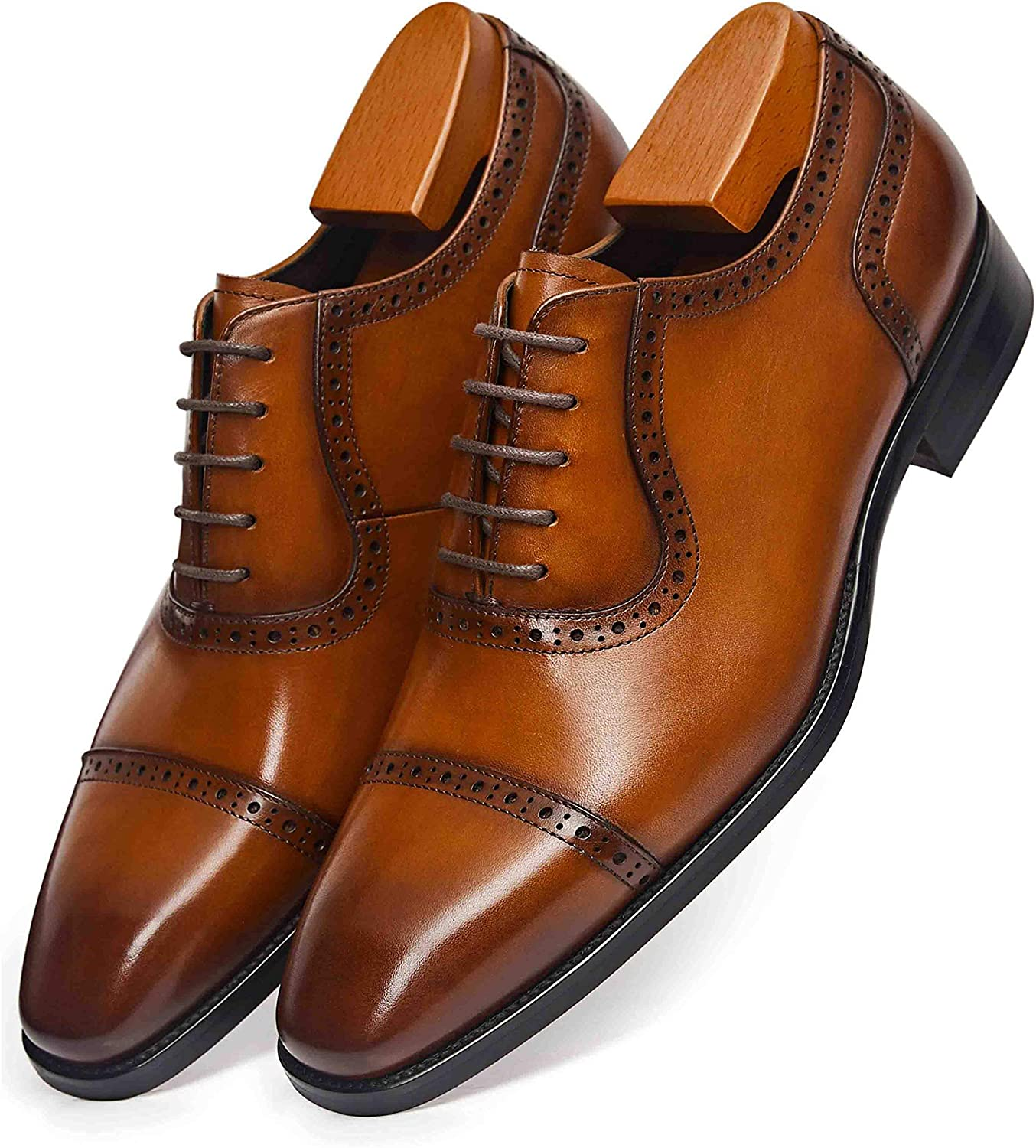 Details about  /Mens Real Leather Business Shoes Oxfords Slip on Square Toe Loafers Formal New L