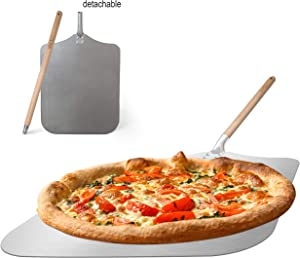 "Q's INN 12x14"" Pizza Peel 35 inch long, the 18 inch detachable handle make the pizza paddle compact and easy for storage. Large & Lightweight use the Spatula for Baking Pizza and Bread on Oven & Grill"