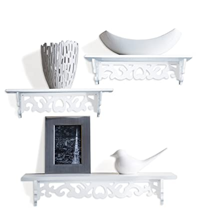 Amazon Com White Book Shelf Floating Wall Shelves Display Set Of 3