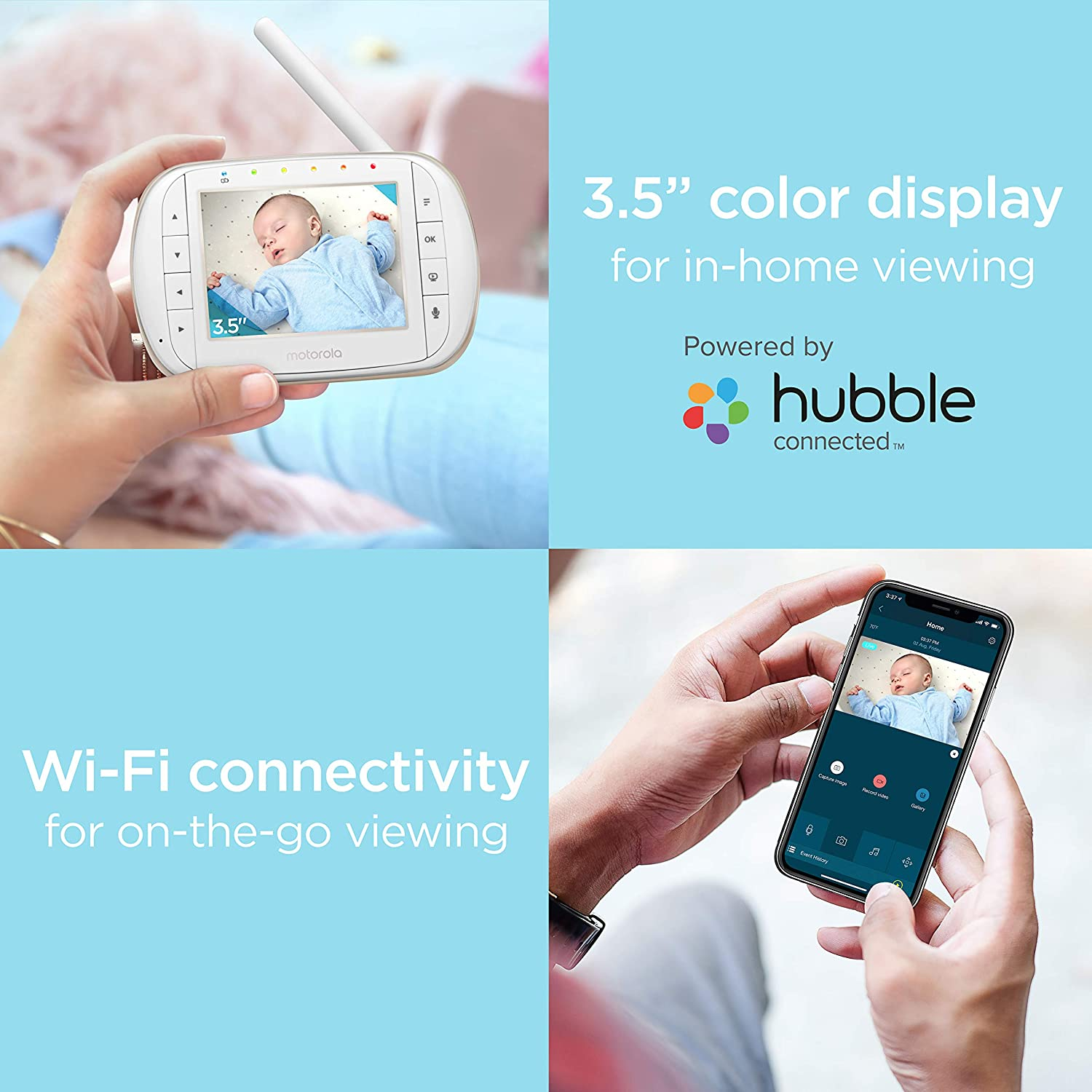 "Motorola 3.5/"" video baby monitor with Wi-Fi MBP668CONNECT"