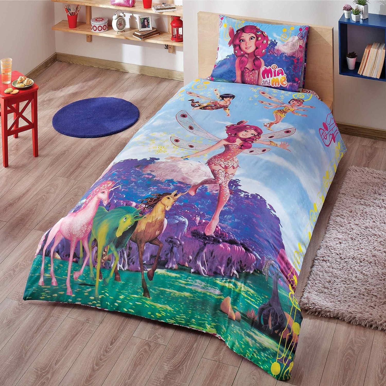 Original Lizenziert Bettwäsche-Set, Design Mia and Me Fairy, Single Größe, 100% Baumwolle, 3-Teilig (Bettbezug + Spannbettlaken + Kissenbezug)