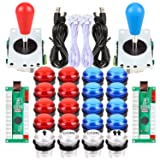 Avisiri 2 Player led Arcade Buttons and Joystick DIY kit 2X joysticks + 20x led Arcade Buttons Game Controller kit for Windows and MAME and Raspberry Pi (Red-Blue-Kits) (Color: Red-Blue-Kits)