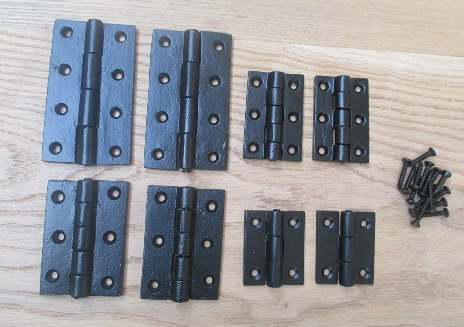 3//75MM Ironmongery World/® 1 PAIR BLACK ANTIQUE-Cast iron old english butt cabinet cupboard door hinges