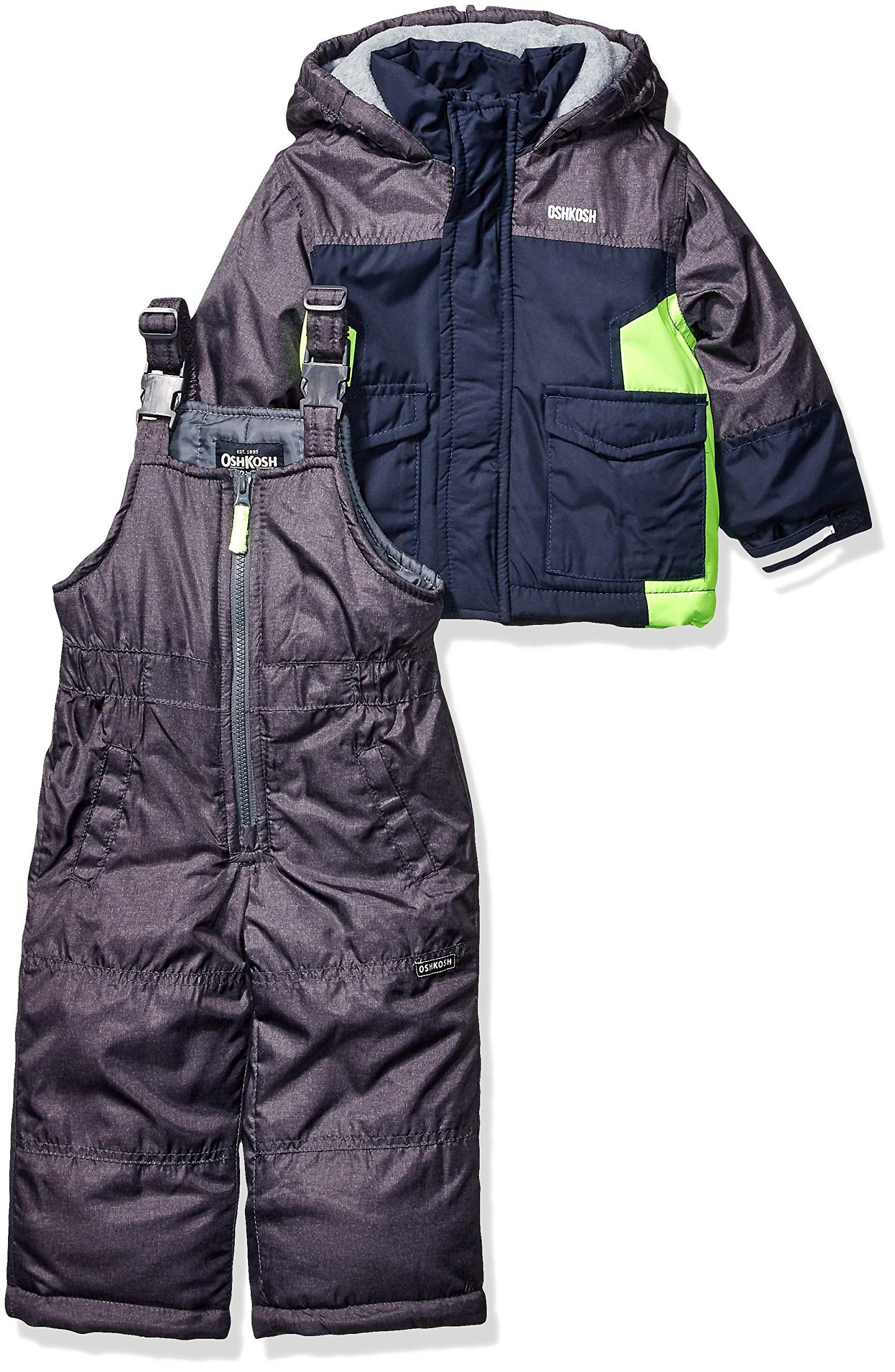 OshKosh B'Gosh Boys' Toddler Ski Jacket and Snowbib Snowsuit Set, Navy Fall, 3T by OshKosh B'Gosh