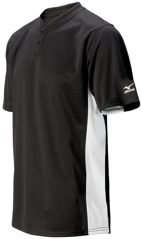 Mizunoメンズ2ボタンカラーブロック半袖野球ジャージー B002M76SLE X-Small|ブラック ブラック X-Small