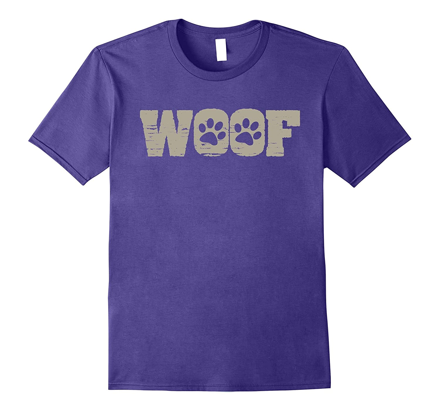 Woof Funny Joke Dog T-Shirt With Paw Print-TH