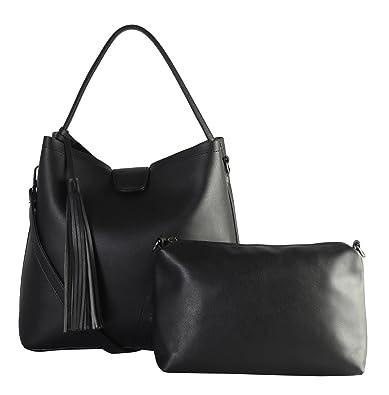 ba28c0f223b1 Amazon.com: Diophy PU Leather Black Studded with Tassels Décor Hobo ...