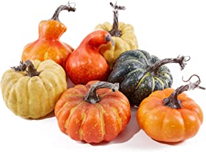 Mimacoo Assorted Artifical Pumpkins Big Pumpkins in Different Shapes and Sizes for Fall Harvest Festival, Thanksgiving or Halloween Decor Decoration Decorations 7PCS