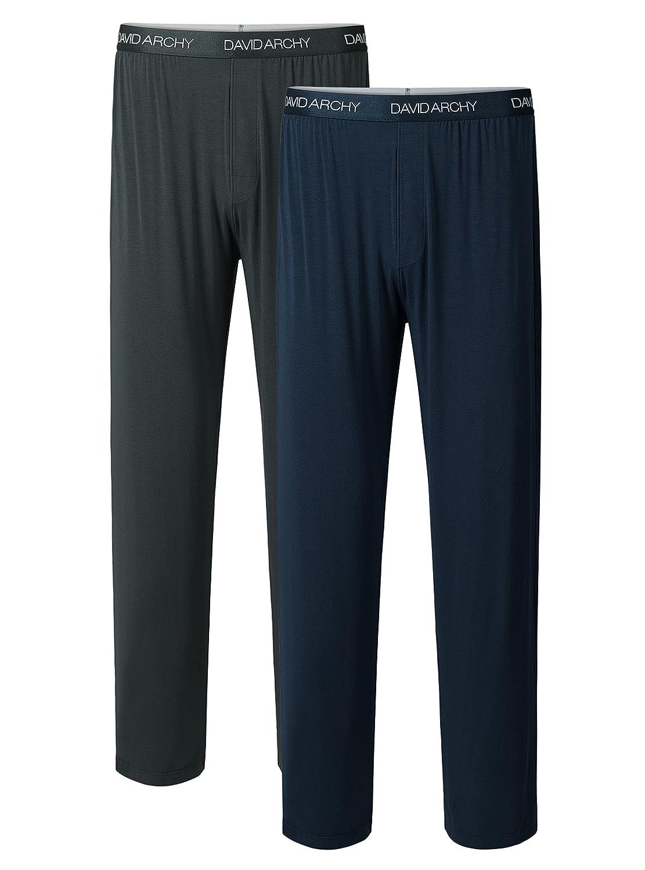 David Archy(デヴィッドアーキー)メンズ パジャマ  ルームウェアボトムス 竹繊維 2枚組 前閉じ ポケット付 パンツ ソフト通気 B075P1G8Q2 S|Dark Gray+navy Blue Dark Gray+navy Blue S