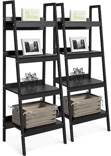 Best Choice Products Set of 2 4-Shelf Modern Open Wooden Ladder Bookcase Storage Display Organizer Decor