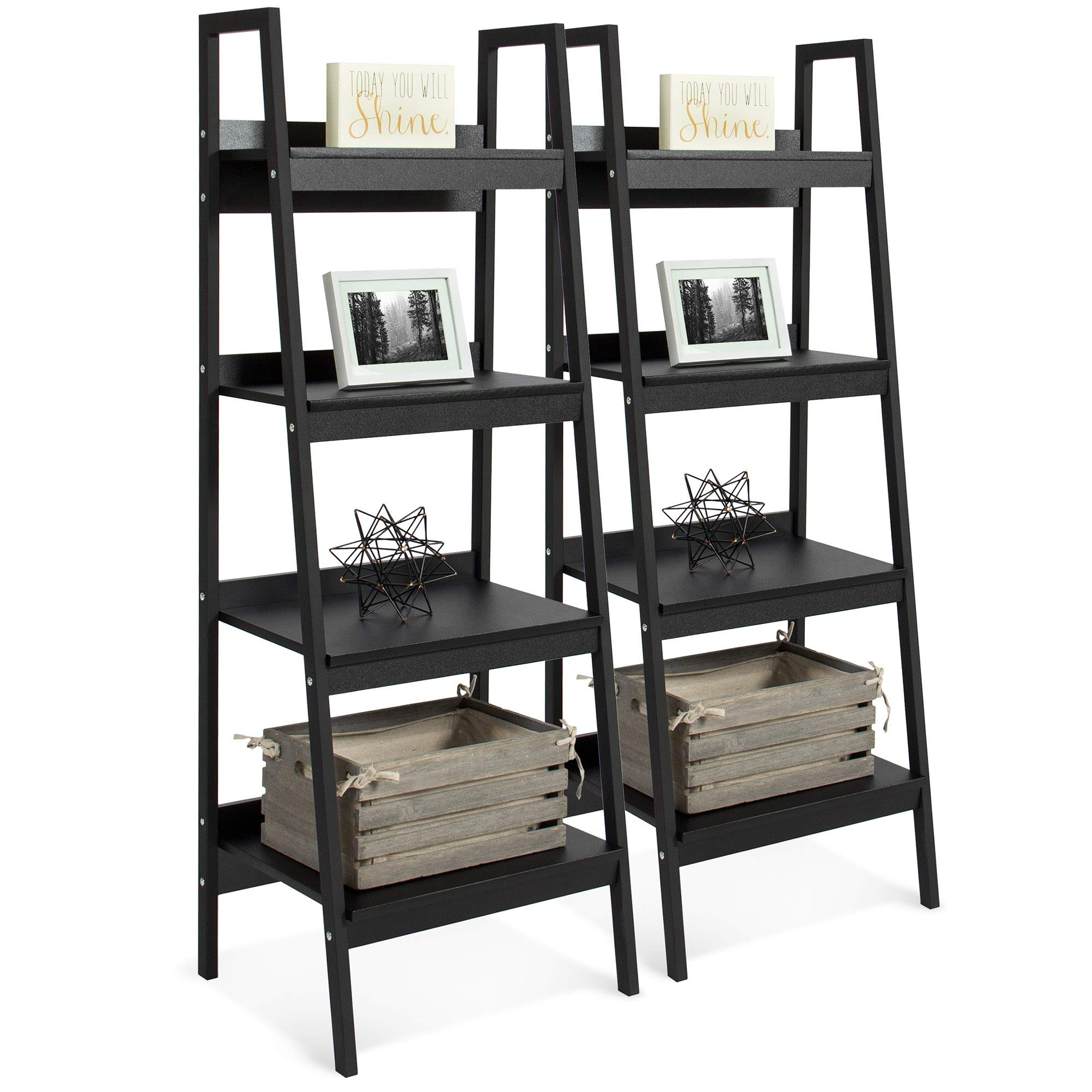 Best Choice Products Set of 2 4-Shelf Modern Open Wooden Ladder Bookcase Storage Display Organizer Decor with Metal Framing, Black