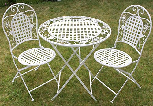 White Metal Garden Side Table: French Ornate Cream Wrought Iron Metal Garden Table And