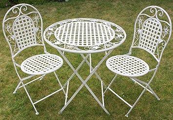 Maribelle - Salon de jardin - table à manger + deux chaises en métal ...