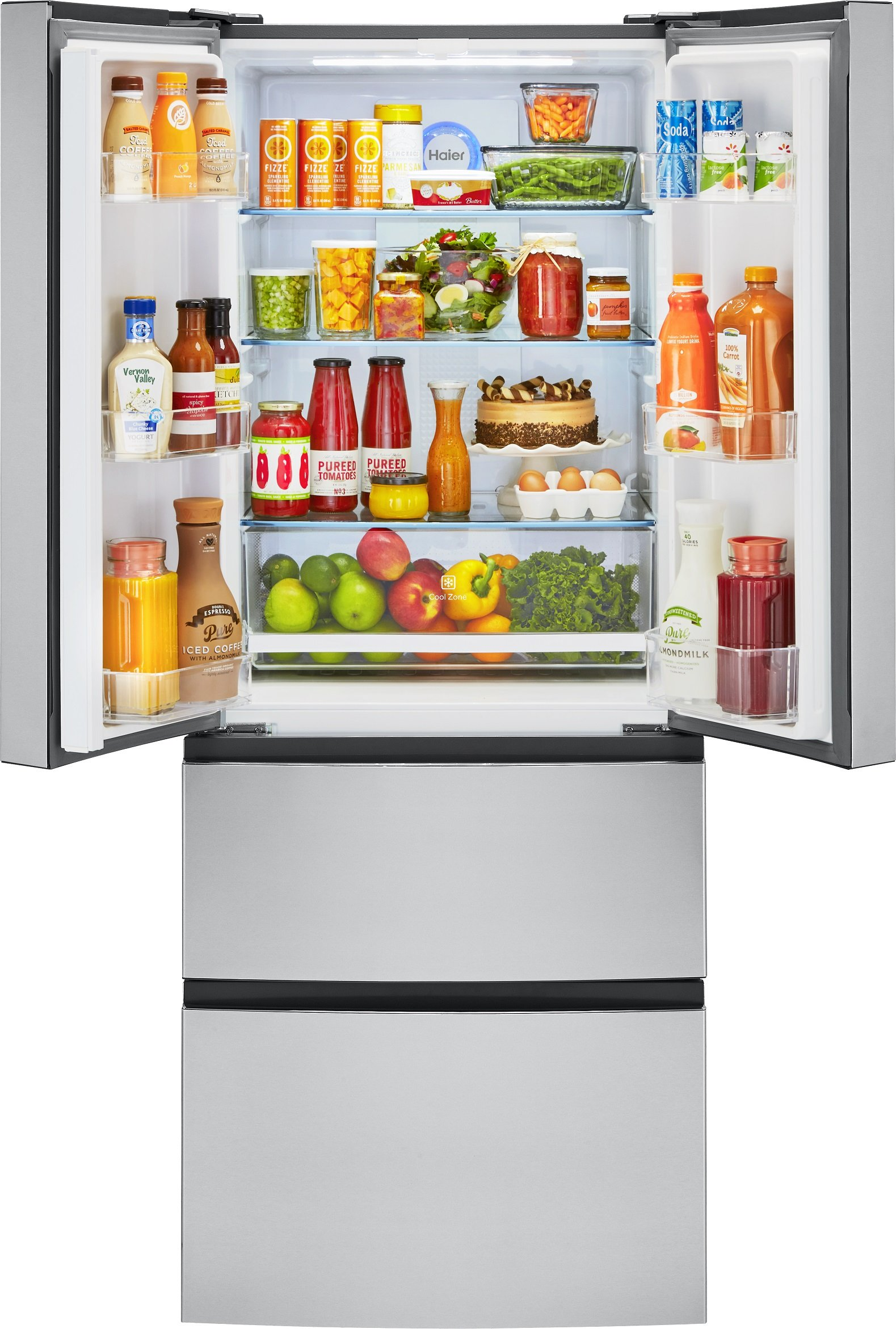 Haier 15-Cu.-Ft. French-Door Refrigerator 28'' width Stainless Steel HRF15N3AGS by GE