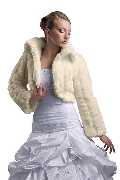 Nina Brautmoden Bolero Chaqueta Vestido de Novia Novia imitación de visón de Chaqueta hasta 3 x l – E20