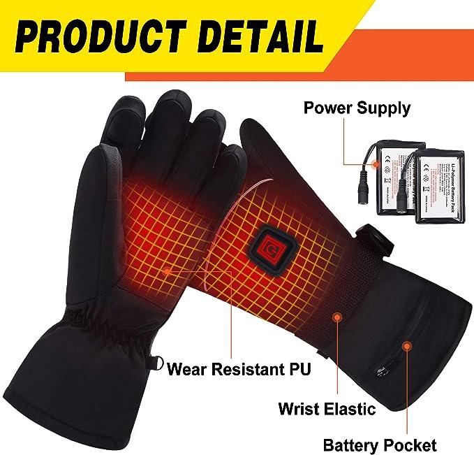 Rishaw Guantes Calefactores El/éctricos con Bater/ía Recargable,Guantes T/érmicos,3.7 V 4000 mAh 3-Modos de Calefacci/ón,Guantes Impermeables con Pantalla T/áctil,Adecuados para Actividades al Aire Libre