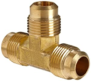 """Anderson Metals Brass Tube Fitting, Flare Tee, 3/8"""" x 3/8"""" x 3/8"""" Flare"""
