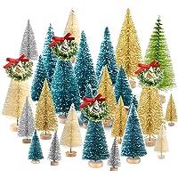 TUPARKA Miniatur Flaschenbürste Bäume Mini Weihnachtsbäume Tabletop Bäume Schnee Ornamente für Weihnachtsfeier Dekoration DIY Zimmer Dekor Diorama Modelle
