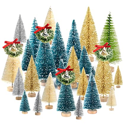 Kuuqa 36pcs Bottle Brush Trees Set Diorama Trees Mini Sisal Christmas Trees With Christmas Wreaths For Christmas Table Decorations Diy Room Decor