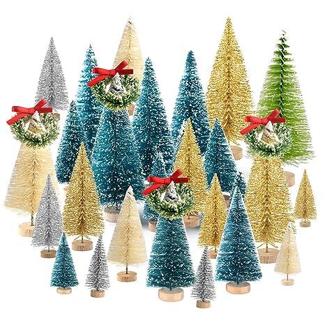 037341c1e14 TUPARKA 36 Piezas de árbol de Navidad en Miniatura Botella Cepillo árboles  Mini sisal Nieve Helada