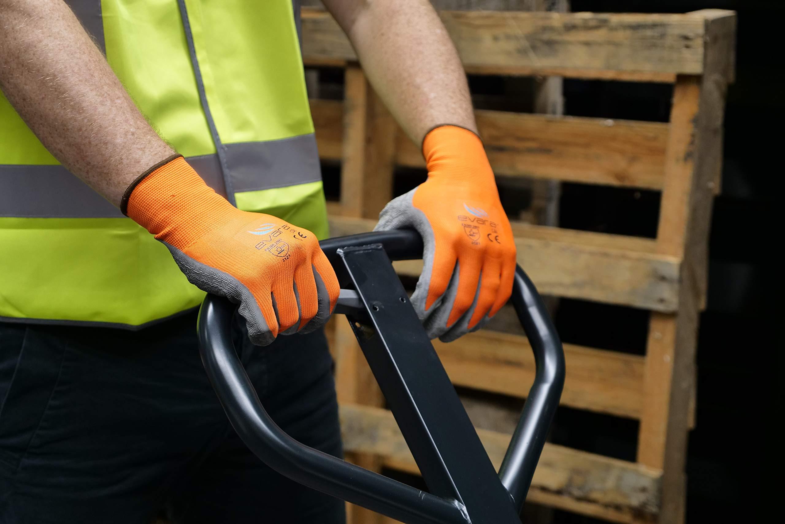 Tough Work and Gardening Gloves for Men and Women(12 pairs per pack) (Latex, Medium) Supreme Hi-vis orange with full thumb dipping by Evara by Evara (Image #2)