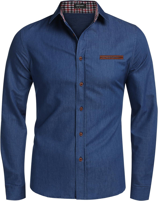 JINIDU Men's Casual Button Down Denim Shirts Long Sleeve Dress Shirt Sky Blue