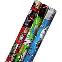 Hallmark Star Wars Wrapping Paper with Cut Lines on Reverse (3-Pack: 60 sq. ft. ttl) with Yoda, Darth Vader, Chewbacca…