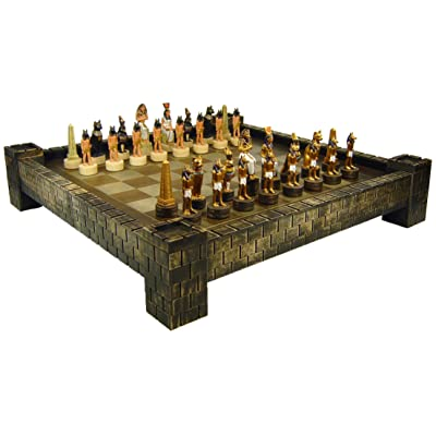 "HPL Egyptian Anubis Chess Set W/ 17"" Castle Fortress Board Egypt: Toys & Games"