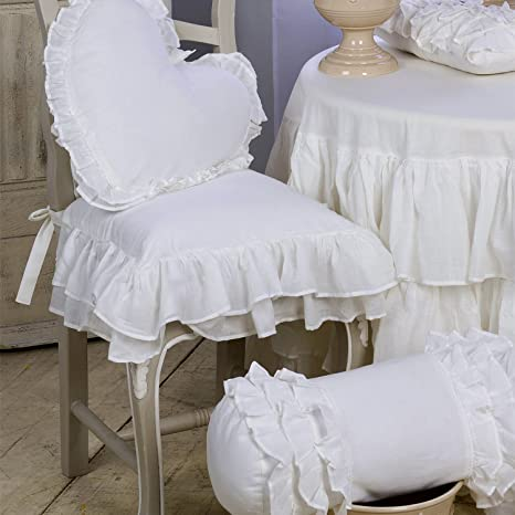 Cuscino Per Sedia Shabby Chic Fru Fru Collection Blanc Mariclo
