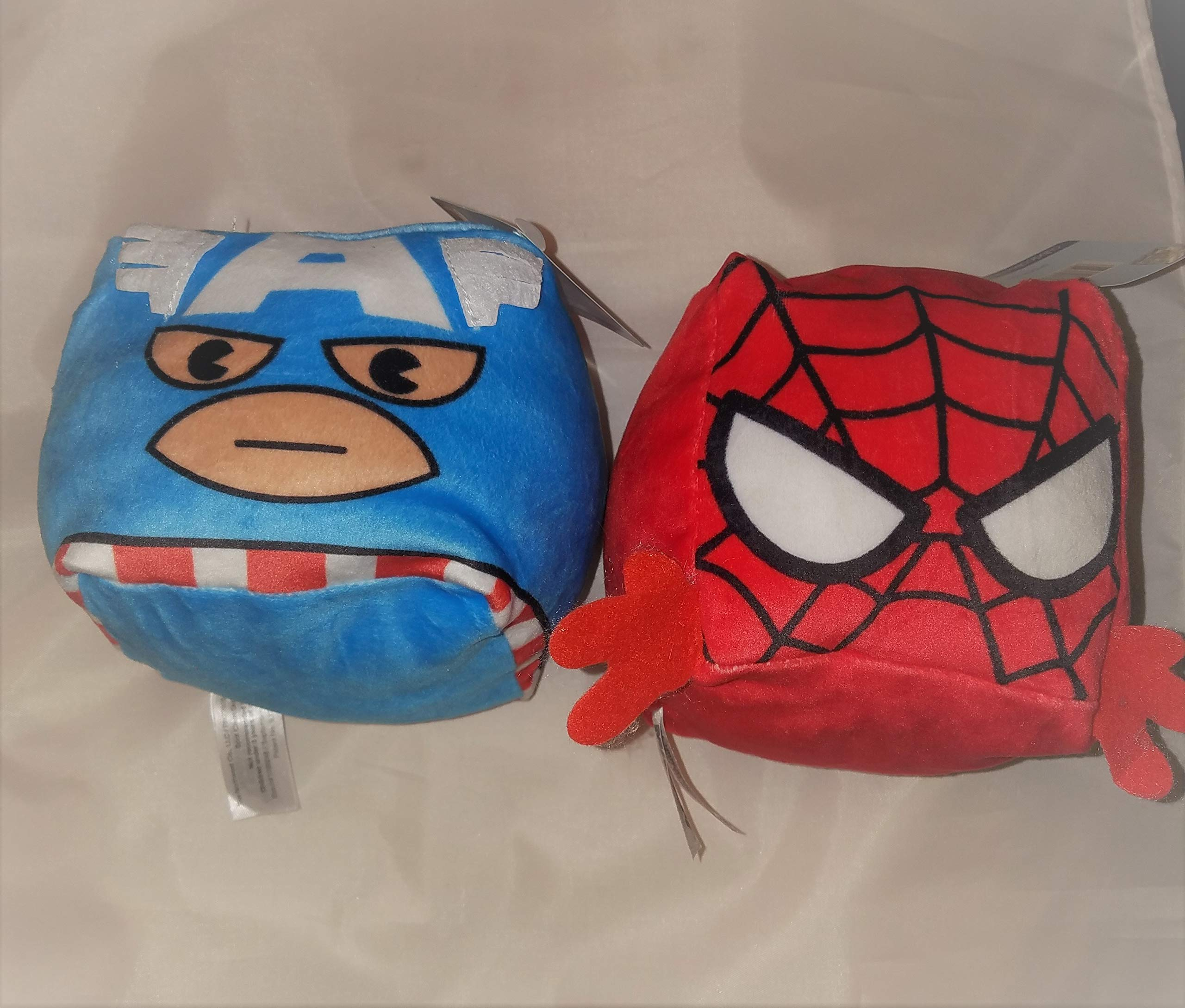Cubd Collectibles Captain America and Spiderman Plush Mini Travel Pillows 4x4x4 inches