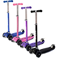La Sports V2 3 Three Wheel Tri Scooter for Kids, Children, Age 6+ Boys & Girls 20-80kg, Flashing LED Wheels, Foldable, Adjustable Height, in Black, Blue, Pink & Purple