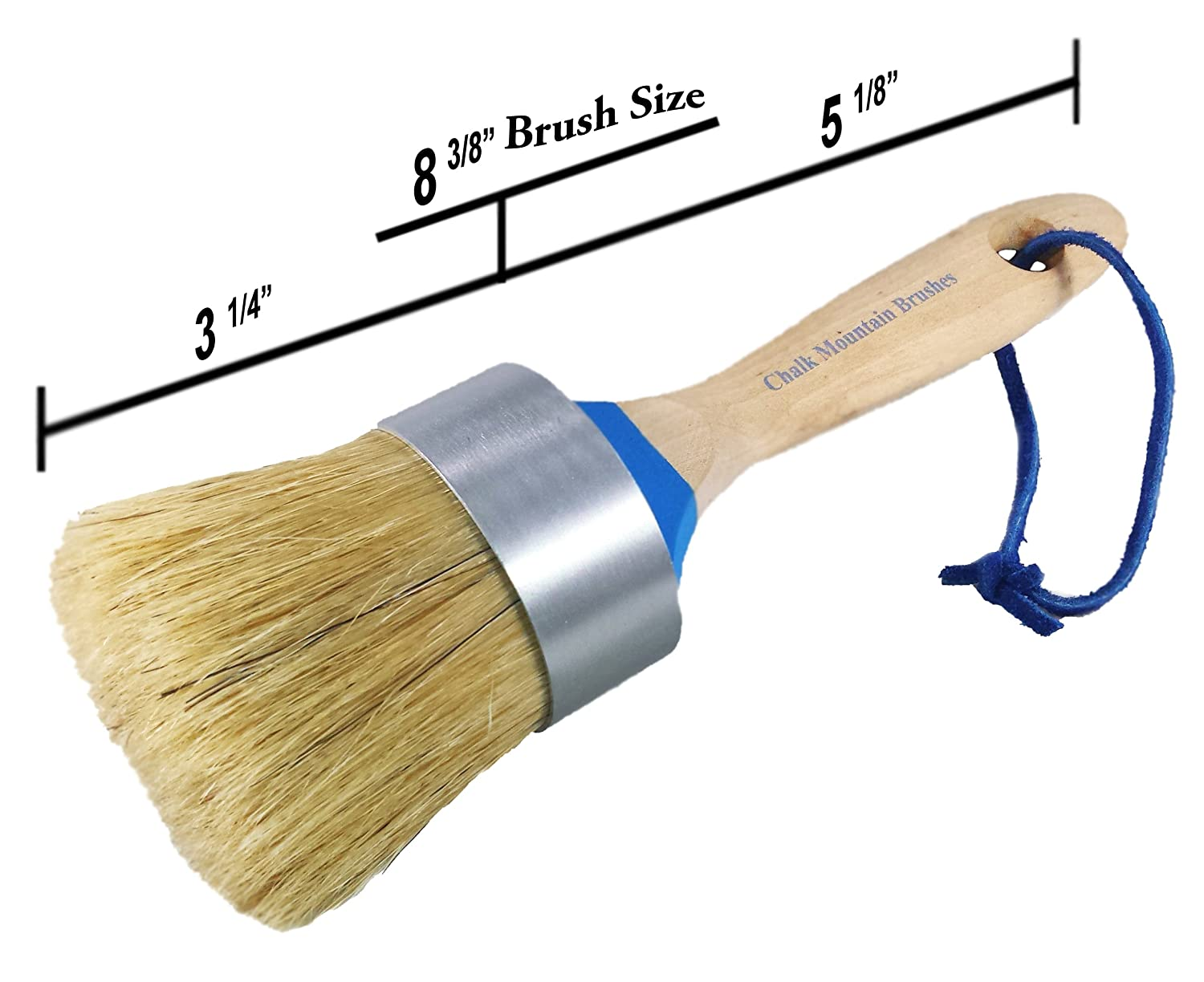 Chalk Mountain Brushes-LARGE MAXIMUM 2-in-1 Chalk Furniture Paint Boar Hair Brush. Great for Large Projects. Aluminum Ferrule to ensure NO Rusting, Easy to hang/clean with Blue leather rope.