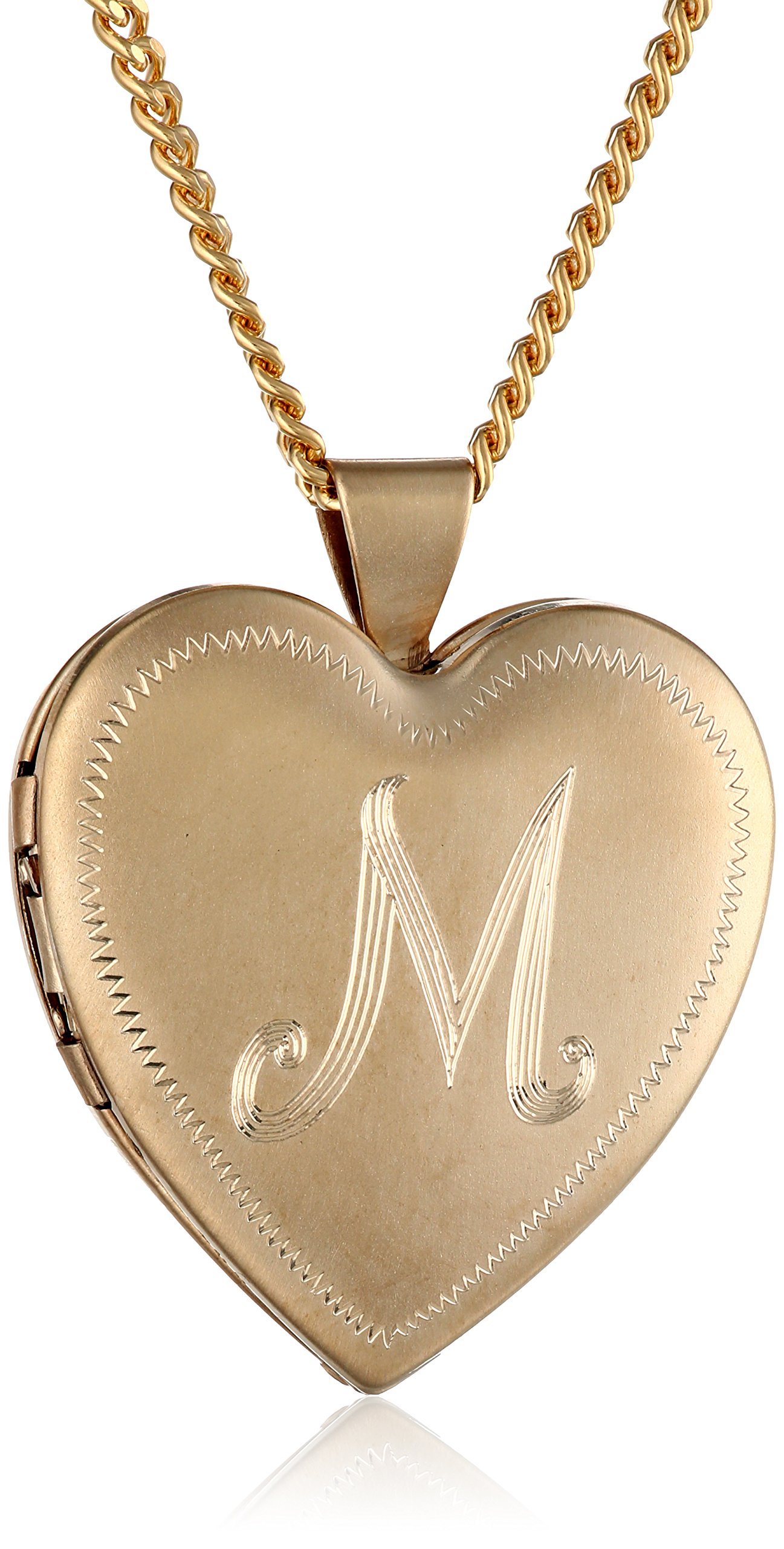 18k Gold-Plated Initial''M'' Heart 26mm (1'') Locket Necklace, 24''