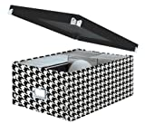"Snap-N-Store Double Wide CD Storage Box, 6.125"" x 10.5"" x 14"", Houndstooth (SNS03315)"
