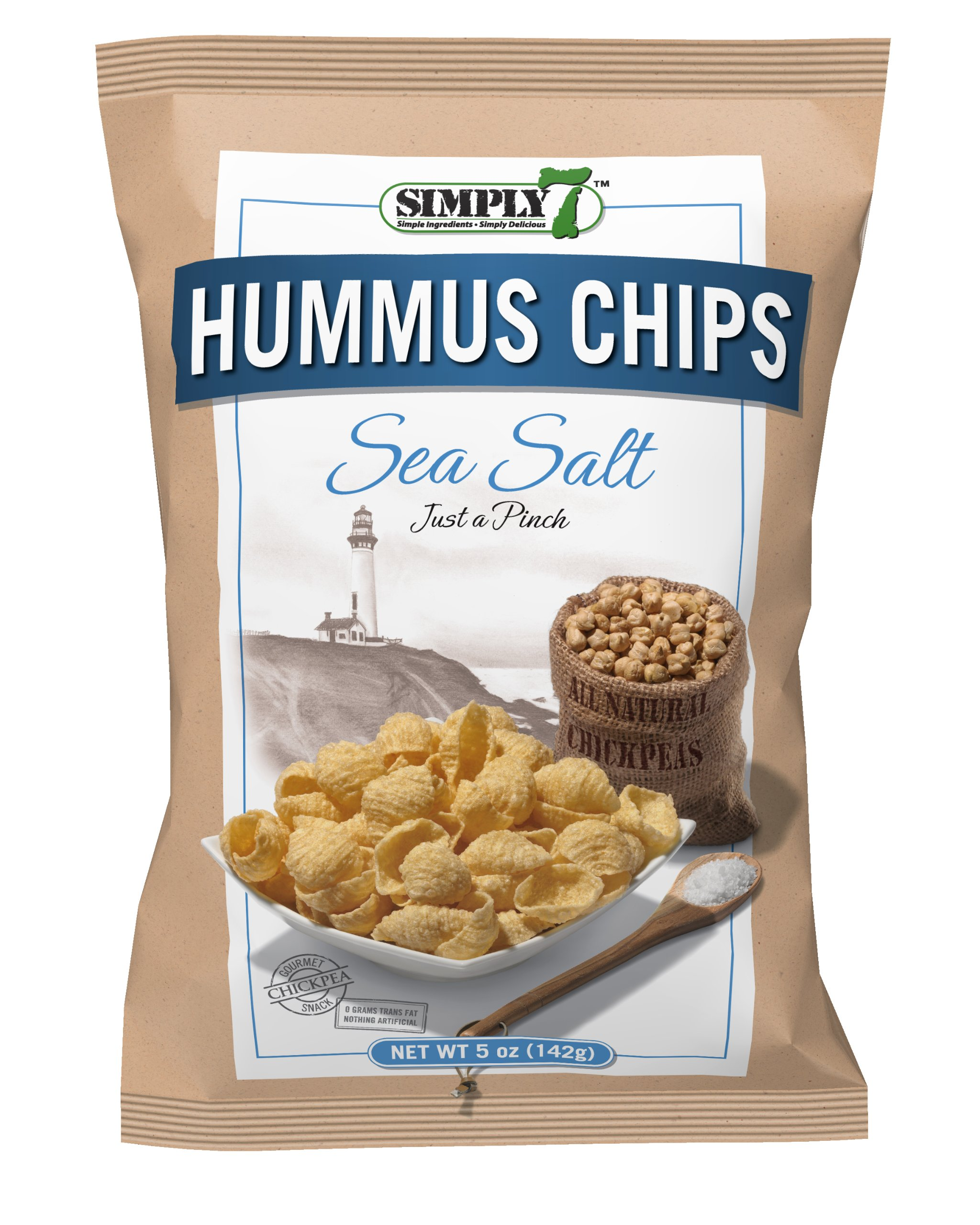 Simply7 Gluten Free Chickpea Hummus Chips, Sea Salt, 1 Ounce (Pack of 24) by Simply 7