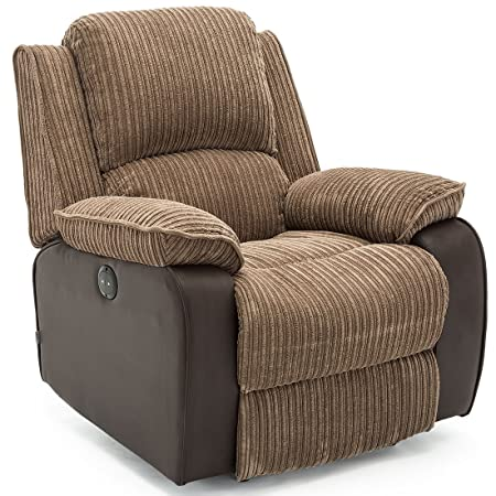 Elegant POSTANA JUMBO CORD FABRIC POWER RECLINER ARMCHAIR ELECTRIC SOFA RECLINING  CHAIR (Brown)