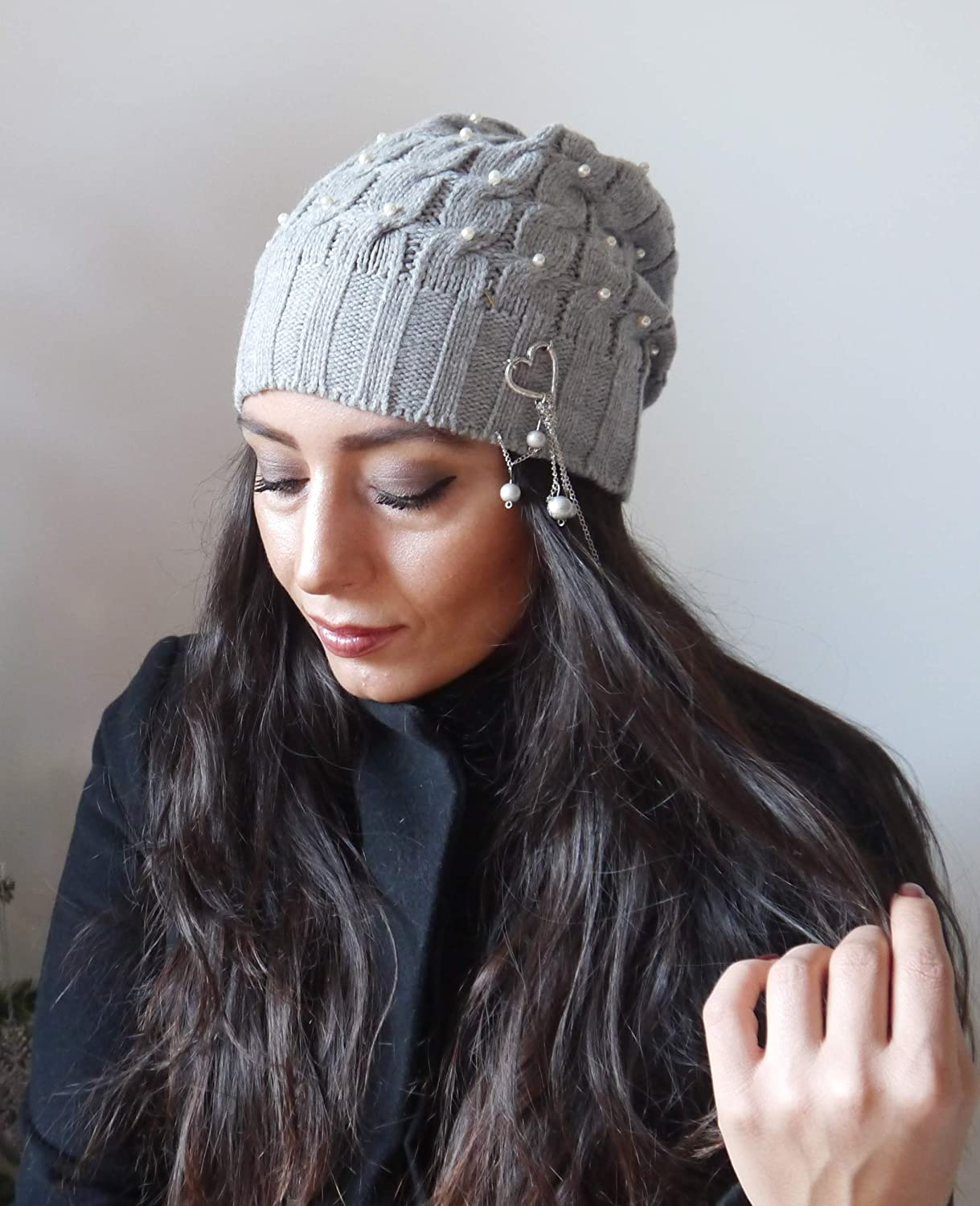 847dcbdd96b Amazon.com  Grey women winter beanie hat with pearls beaded slouch hat hand knit  hat women wool chunky hat ski gifts for woman cold weather hats  Handmade