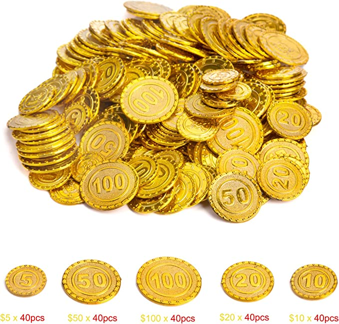 Pirates Treasure Coins Play Money for Kids Counting Hallowmas// Christmas Party Favors Decoration Golden Coins Prize Wowok 200 PCS Plastic Gold Coins for Pretend and Play Bag Stuffers Math