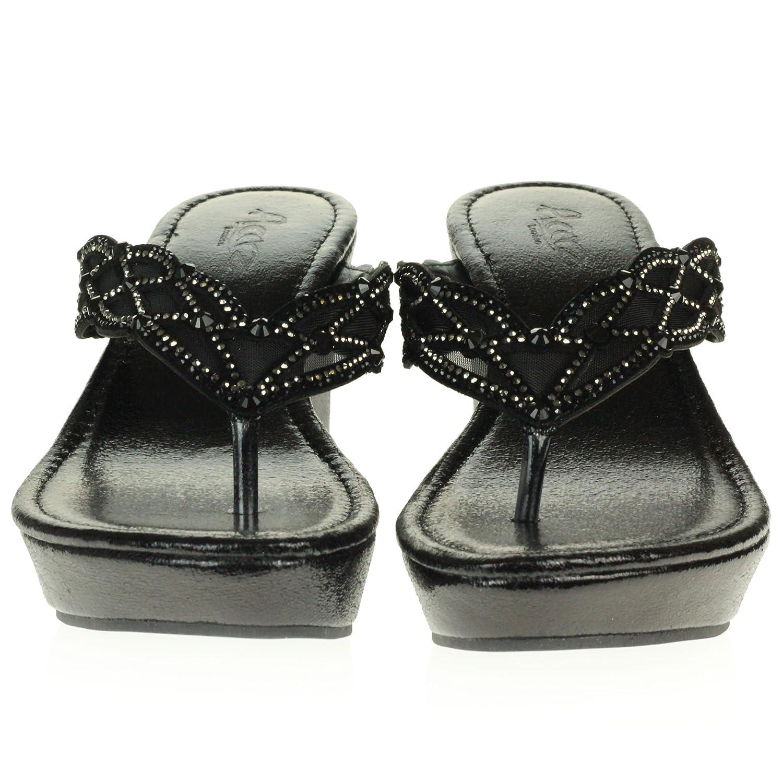Femmes Dames Cristal Diamante Décontractée Glisser sur Confort Talon Bas compensé Poids léger des Sandales Chaussures Taille Noir