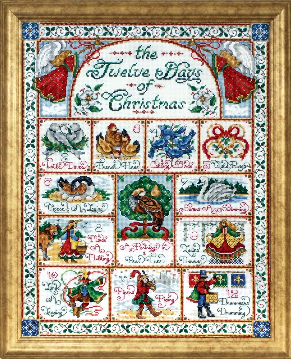 Amazon Com Design Works Crafts 5435 12 Days Of Christmas Counted Cross Stitch Kit 14 By 18
