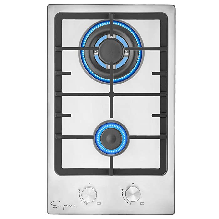 Empava 12XGC010 12 Inch Stainless Steel Gas 2 Italy Sabaf Burners Stove Top Certified with Thermocouple Protection Cooktops, Silver