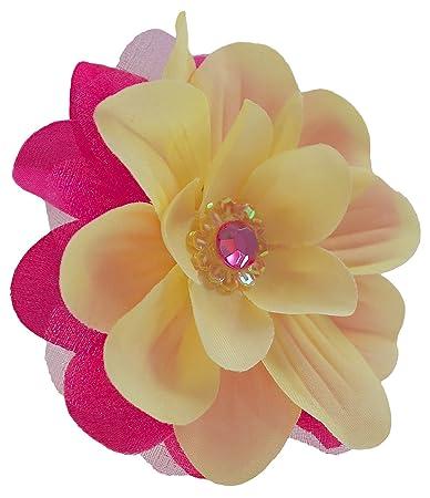Amazon jojo silk flower hair clip yellow hot pink beauty jojo silk flower hair clip yellow hot pink mightylinksfo