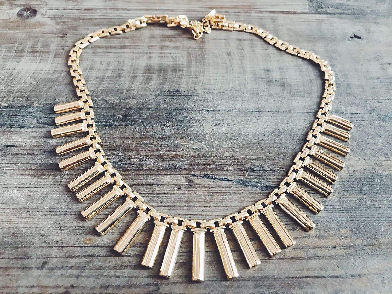 b3b3f233acea MoncollierBcn - Collar Salinas bañado en oro y detalle de tiras. Cierre  regulable. Producto hecho a mano  Amazon.es  Handmade