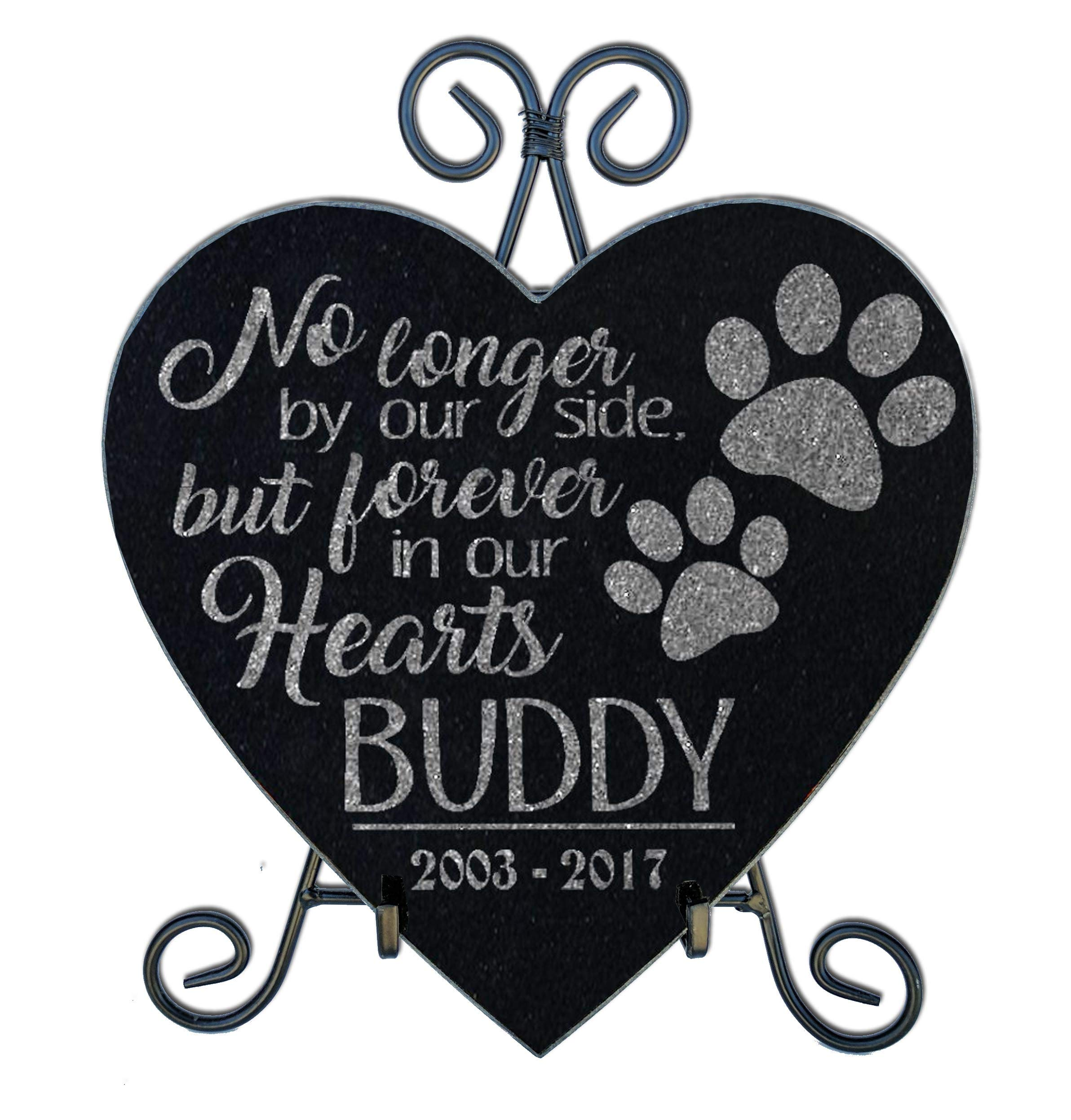 Personalized Pet 10x10 Paw Prints Memorial Stone Heart Shaped with Stand Pet Loss Sorrow Remembrance Garden Plaque Gift Indoor Outdoor Dog Cat Grave Marker by Personalized-Pets-by-StockingFactory