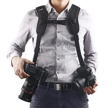 81iRc8aIb8L._SX425_ amazon com quick release double dual camera shoulder strap dual camera harness at webbmarketing.co