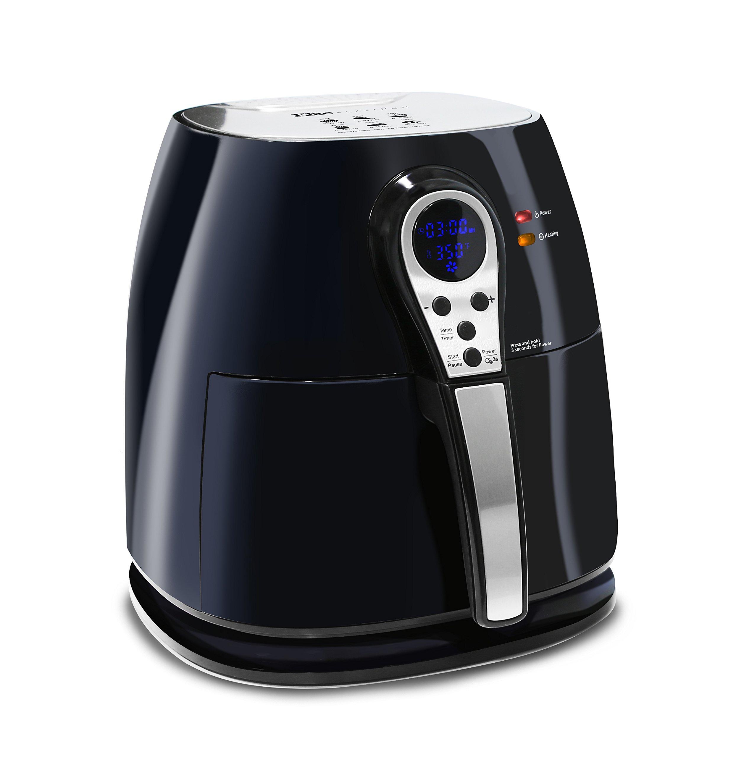 Elite Platinum 3.2 Quart Electric Digital Air Fryer Cooker, 1400-Watts with 26 Full Color Recipes (Black)