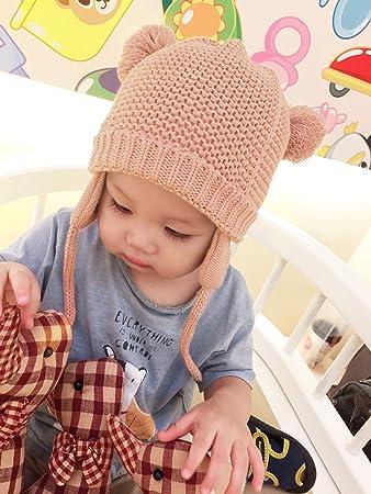 7e6f4ada024b96 ニット帽 子供 ベビーニット帽 赤ちゃん 男の子 女の子 耳保護付き 手編み風 無地 ポンポン