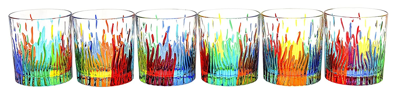 Boteghe Real Made in Italy BICCHIERI FIRE Water Drink Glasses Crystal Hand Painted Traditional Technique Colors Venice