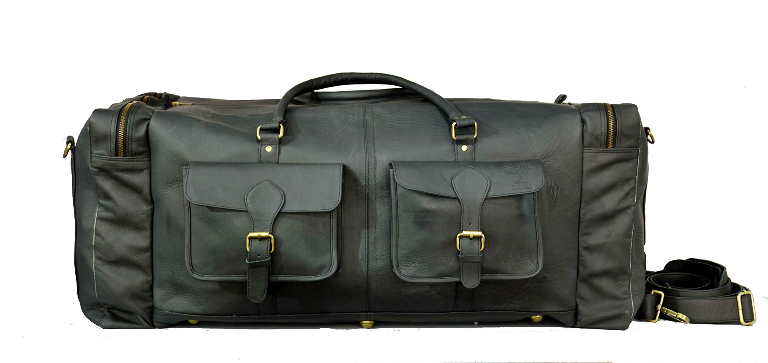 28 Inch Vintage Leather Duffel Travel Gym Sports Overnight Weekend Luggage Tote Duffle Bags For Men (BLACK)